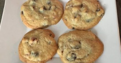 Spirited Chocolate Chip Cookies – with Bacon Up and Bourbon