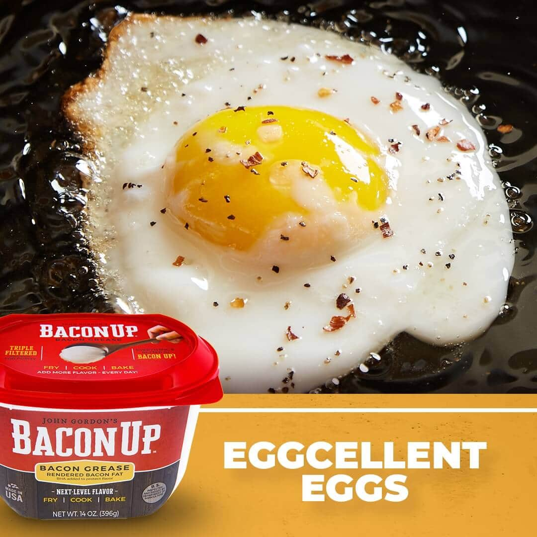 Frying eggs in Bacon Up adds next-level flavor!